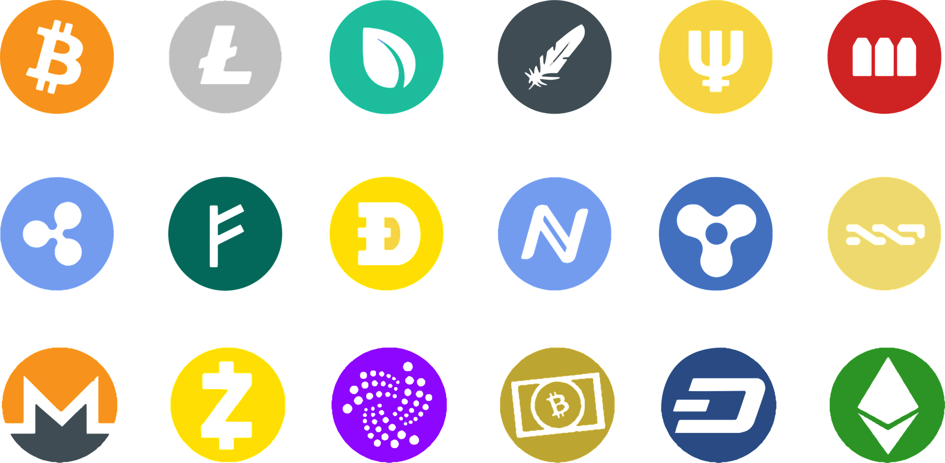 Icons of currencies